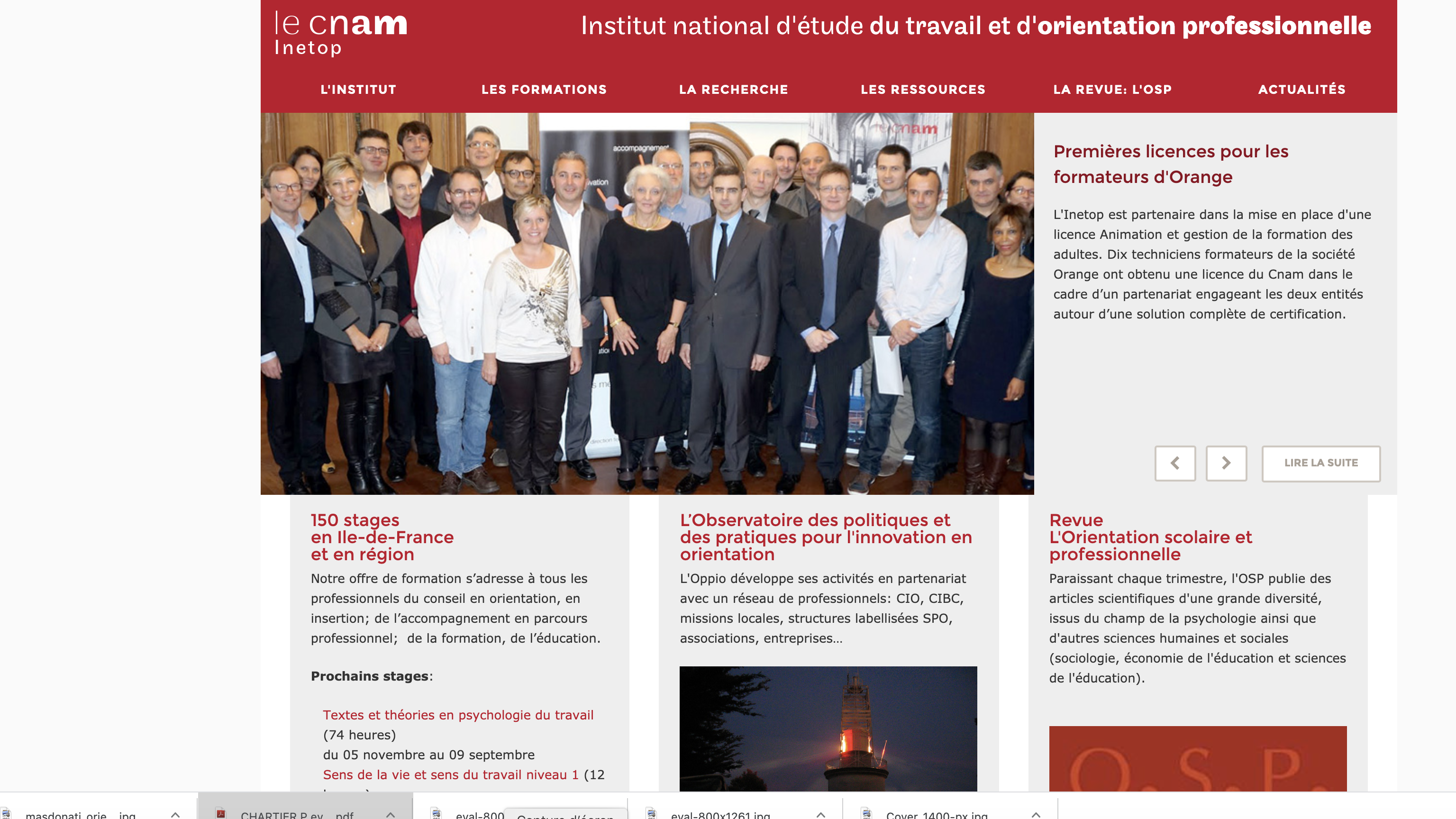 page d'accueil Inetop